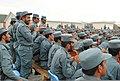 Afghan Uniform Police basic patrolman course graduates observe classmates dancing after a graduation ceremony at the Regional Training Center-Kandahar in Kandahar province, Afghanistan, April 14, 2011 110414-F-ME751-012.jpg