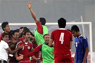 Afghanistan national football team - Players are celebrating after winning their 2011 SAFF Championship Semi-final against Nepal