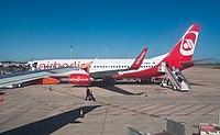 Air Berlin Boeing 737-800 D-ABKW Murcia-San Javier Airport.jpg
