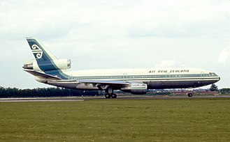 Air New Zealand - An Air New Zealand McDonnell Douglas DC-10 in 1977. DC-10 deliveries began in 1973 and they introduced a new colour scheme, being the first of the airline's aircraft to feature the now-ubiquitous koru logo.