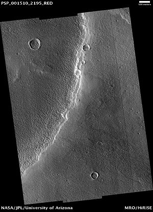 Alba Mons - Dust mantle at the SW edge of small caldera on Alba Mons (HiRISE).
