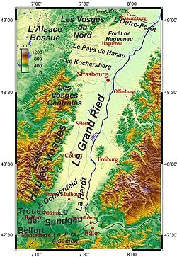 Topographic map of Alsace