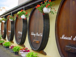Alsace wine - Barrels in Alsace for wines of several notable varieties.