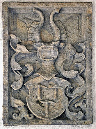 Altenstein Castle (Lower Franconia) - A sculpted coat of arms (Wappenstein), probably 17th century, from the old parish church; now in the porch of the new church