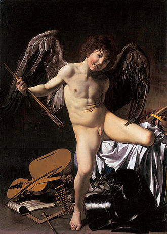 Gemäldegalerie, Berlin - Amor Victorious (1602–1603). Oil on canvas. 156 x 113 cm. Caravaggio shows Eros prevailing over other human endeavors: war, music, science, government.