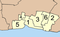 Map o Samut Prakan wi the provinces numbered