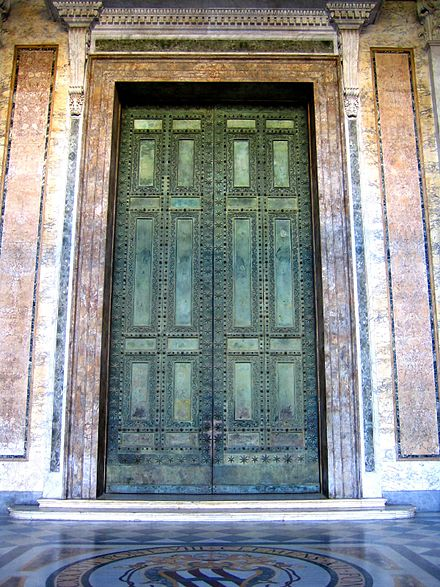 Bronze doors of the ancient Roman senate taken from the Roman forum, restored and placed in 1660 in the Lateran Basilica. Ancient Roman Senate Bronze doors.jpg