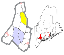 Location of Leeds (in yellow) in Androscoggin County and the state of Maine