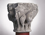 Anonyme toulousain - Chapiteau de colonne simple , Lions dans des lianes - Musée des Augustins - ME 220 (4).jpg