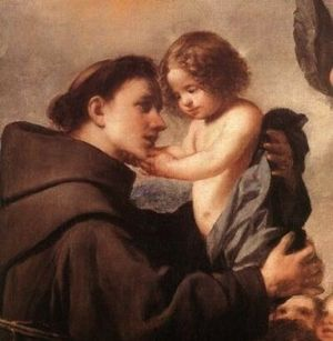 Franciscans - Anthony of Padua (c1195-1231) with the Infant Christ, painting by Antonio de Pereda (c1611-1678)