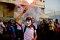 Anti-coup protester wearing Guy Fawkes mask - demonstration in Cairo 6-Oct-2013.jpg