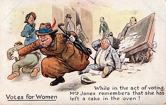 """Anti-suffragism - Anti-suffrage postcard- """"While in the act of voting"""""""