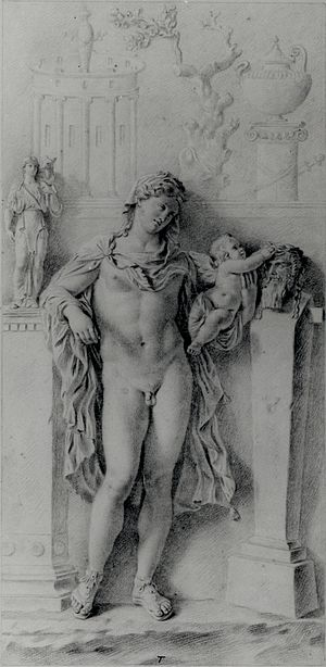 Hermaphroditus - Drawing of a relief depicting Hermaphroditus and Eros crowning a herm by Antonio Maria Zanetti (circa 1721)