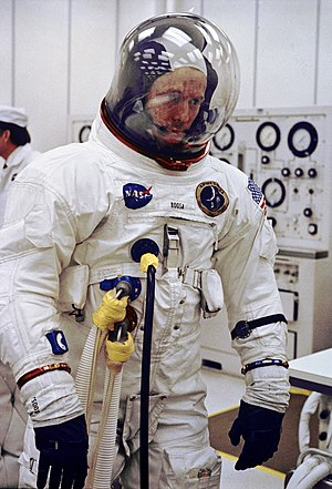 Stuart Roosa - Roosa undergoes final space suit check prior to liftoff of Apollo 14