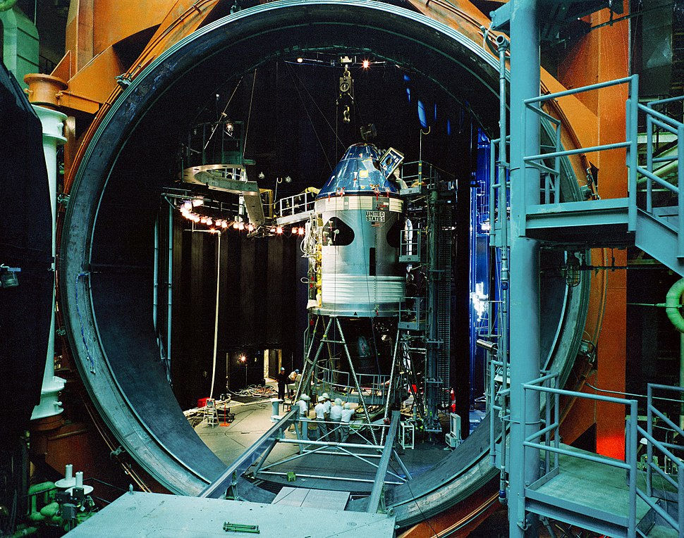 Apollo Command Service Module in vacuum chamber