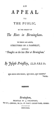 "Title reads: ""An Appeal to the Public, on the Subject of The Riots in Birmingham. To which are Added, Strictures on a Pamphlet, intitled 'Thoughts on the late Riot at Birmingham.' By Joseph Priestley"""