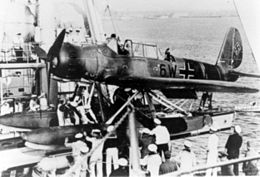 Ar 196 being loaded on Admiral Hipper cruiser 1941.jpg