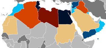 English: A map of Arab Spring countries update...
