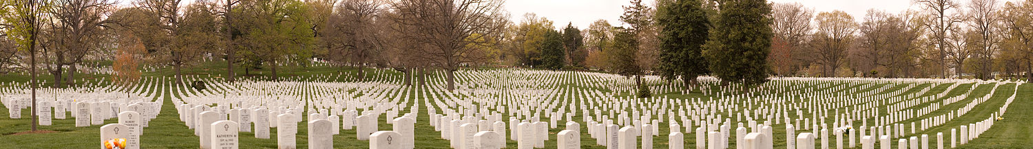 Panorama over en lille del af Arlington National Cemetery.