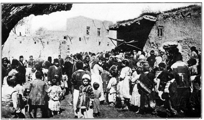Armenian refugees at Van crowding around a public oven during 1915