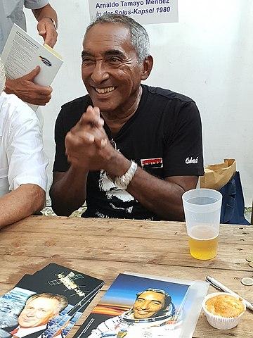 Cosmonaut Arnaldo Tamayo-Mendez, photo by Wikipedia user Escla (28 July 2018)Source: Wikipedia 360px-Arnaldo_Tamayo_Berlin_2018_-_2.jpg