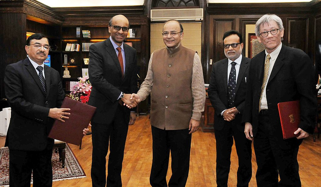 Filearun Jaitley And The Deputy Prime Minister Of Singapore Mr