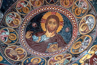 Painted Churches in the Troödos Region - Asinou, Panagia Phorbiotissa church: fresco of Christ Pantocrator (narthex).