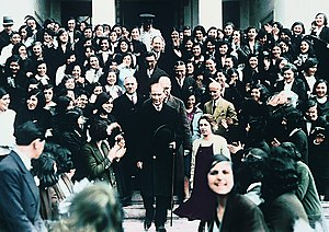 Turkey - Mustafa Kemal Atatürk, founder and first President of the Turkish Republic, visiting Istanbul University after its reorganization in 1933 as a mixed-gender institution of higher education with multiple faculties.