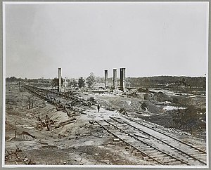Battle of Jonesborough - Ruins of Rolling Mill and cars destroyed by rebels on evacuation of Atlanta, Ga.