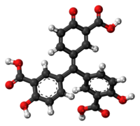 Ball-and-stick model of the aurintricarboxylic acid molecule