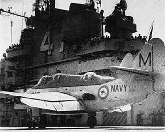 Fairey Gannet - An Australian Gannet AS.1 on the USS Philippine Sea in 1958.
