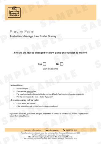 Australian Marriage Law Postal Survey - Sample image of the survey form