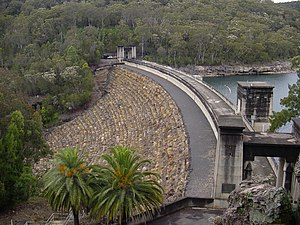 Avon Dam - The curved arch dam wall