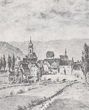 Bad Brückenau - Brückenau with its old bridge. Drawing by H. Girl, before 1876