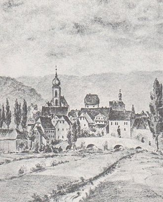 Bad Brückenau - Brückenau with its old bridge. Drawing by H. Girl, before 1876