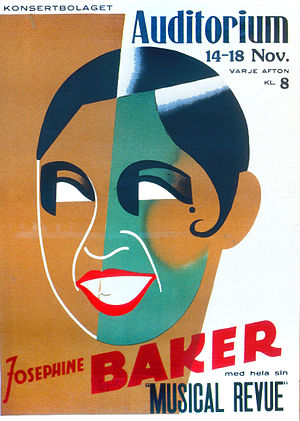 Kiss curl - 1938 Swedish poster showing Josephine Baker with a kiss curl