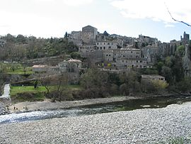 View of Balazuc by the Ardèche River