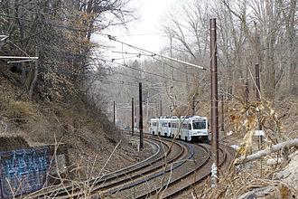Falls Road station - A light rail train near Falls Road