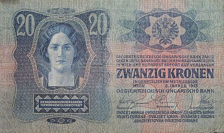 A 20-crown banknote of the Dual Monarchy, using all official and recognized languages except Hungarian BanknoteA-H.jpg