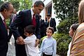 Barack Obama bids farewell to family of Felipe Calderon 4-16-09.JPG