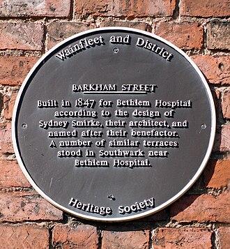 Wainfleet, Lincolnshire - Barkham Street - wall plaque