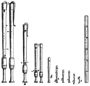 Bass recorder - Recorders from Michael Praetorius's Syntagma Musicum (1619), the fourth and fifth from the left show front and back view of an F bass (basset)