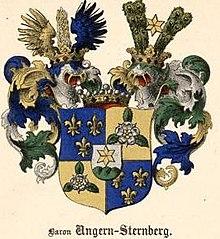 O brasão de armas do Báltico família nobre von Ungern-Sternberg
