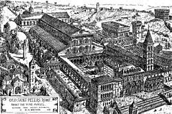 St. Peter's Basilica VATICAN. A black and white engraving of a bird's-eye view of a very large cruciform church. There is a large enclosed forecourt which is fronted by buildings of different dates and styles. There is a tall bell tower and many surrounding structures. A label to the bottom left of the image gives the artist's name and original caption.