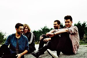 Bastille in 2013: Kyle Simmons, Chris Wood, Will Farquarson, and Dan Smith (left to right)