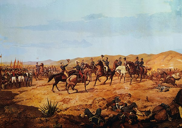 The Battle of Ayacucho, in Peru, ensured the independence of South America in 1824 Batalla de Ayacucho by Martin Tovar y Tovar (1827 - 1902).jpg