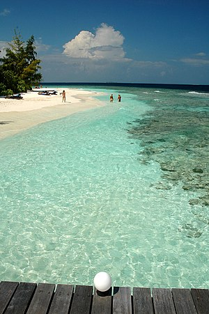 The beach and part of the reef of Bathala isla...
