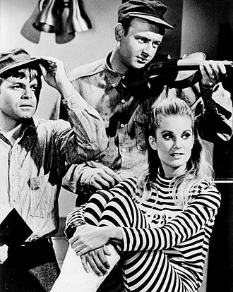 "Tisha Sterling - On TV's Batman (1966). Sterling as ""Legs Parker"". Also in photo are (L-R) Robert Biheller and Peter Brooks."