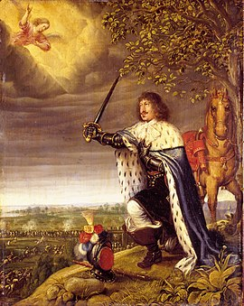 Frederik III during the battle of Nyborg. Painted by Wolfgang Heimbach, 1659. However Frederik III did not himself attend the battle, making this an effective piece of propaganda Battle of Nyborg - Frederick III (Heinbeck).jpg