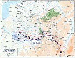 O planejamento do ataque alemão de acordo com o Plano Schlieffen (à esquerda) e seu fracasso (à direita): as tropas aliadas atingiram a lacuna entre o primeiro e o segundo exércitos alemães em 8 de setembro de 1914